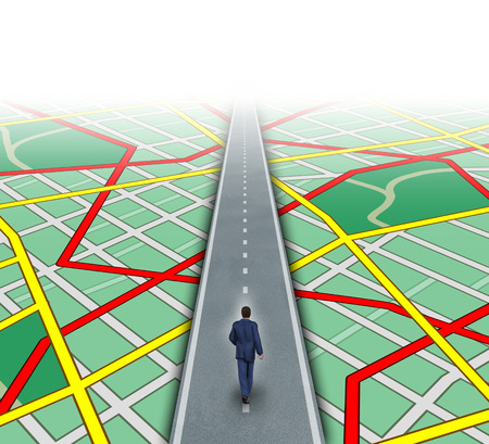 Alternate route and leadership solutions with a businessman walking through a complicated road map as a business focus concept of innovative thinking for financial success  photo