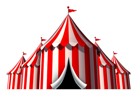 Circus tent design element as a group of big top carnival tents with an opening entrance as a fun entertainment icon for a theatrical celebration or party festival isolated on a white background  Banque d'images