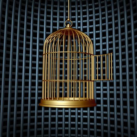 diritti umani: Falsa libert� e il concetto di libert� limitata come gabbia per uccelli aperto all'interno di una gabbia pi� grande o carcere come un concetto di cospirazione per i diritti umani o un simbolo di business per una crescita limitata o limitazioni finanziarie dei mercati chiusi Archivio Fotografico
