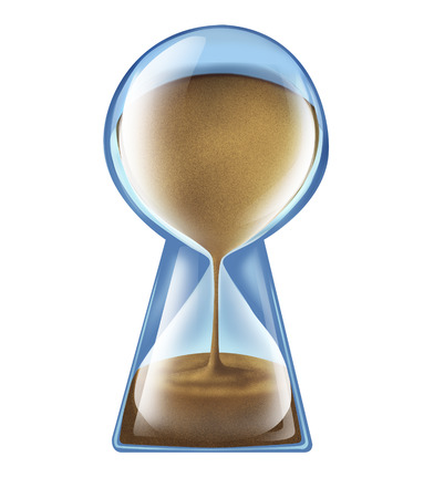 longer: Longevity key health concept as an hourglass shaped as a keyhole as a symbol of living longer and new medical technology to lengthen lifespan or business deadline solutions on an isolated white background  Stock Photo
