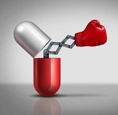 Concepto médico poder Medicina como un abierto tres dimensiones prescripción píldora cápsula o vitamina con un guante de boxeo que emerge como una metáfora y símbolo de defensa humana y el tratamiento farmacológico preventivo que lucha contra la enfermedad y la enfermedad Foto de archivo