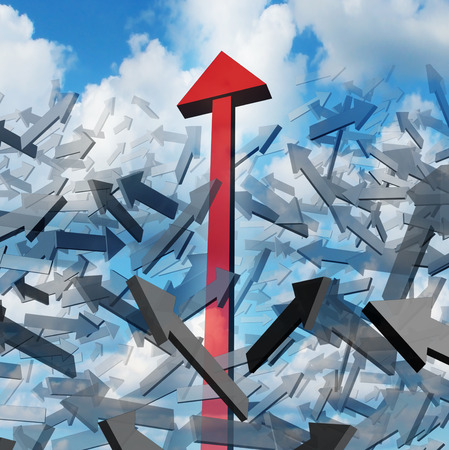 unstoppable: Break through and standing out from the crowd as a group of directional signs in chaotic confusion with a focused red arrow going up towards success as a business concept for confident strategic leadership