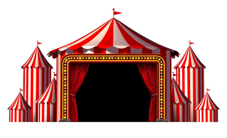 top: Circus stage tent design element as a group of big top carnival tents with a red curtain opening entrance as a fun entertainment icon for a theatrical celebration or party festival isolated on a white background