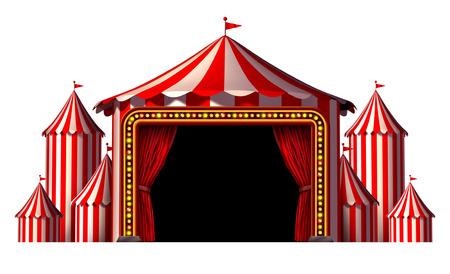 Etapa de circo elemento de diseño como un grupo de grandes tiendas de campaña de carnaval top con una entrada apertura de la cortina roja como un icono de la diversión y entretenimiento para una celebración teatral o una fiesta del partido aislado en un fondo blanco Foto de archivo