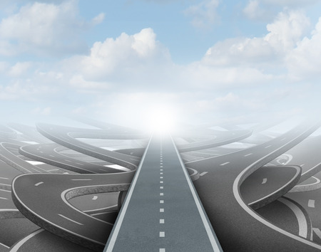 solutions freeway: Clear strategy concept as a straight road going over confused paths for achieving success in the future as a symbol of business vision and planning to  solve the maze