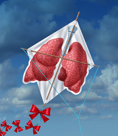 pollution free: Lungs freedom and clean air quality concept and healthy breathing in a pollution free environment represented by human lungs as a flying kite in a sky background as a symbol of healthful living free from smoking and air toxins  Stock Photo