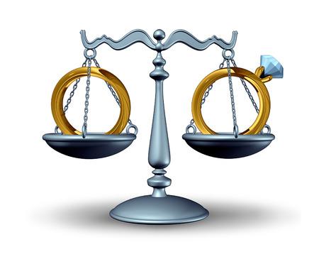 divorcio: Acuerdo prenupcial y el concepto de la ley de divorcio como una escala de la justicia con los anillos de bodas como s�mbolo de un contrato de relaci�n antes del matrimonio o la uni�n civil o divorcian