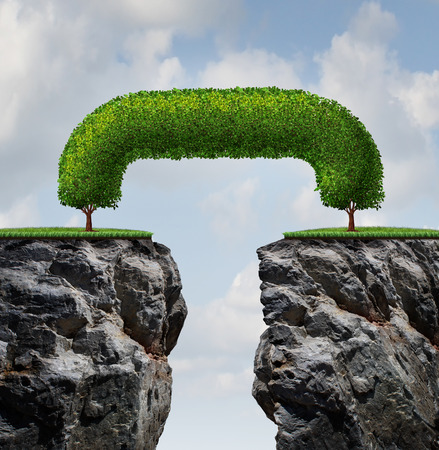 Bridge the gap business concept as two trees on a high steep cliff leaning towards each other bridging together to form a mutual support connection as a symbol and icon of partnership success and growing together to overcome adversity  Foto de archivo