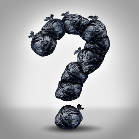 Garbage questions with a group of trash bags shaped as a question mark as a symbol of waste management and environmental issues as a throw away black plastic sack full of dirty smelly trash and useless junk  Stockfoto