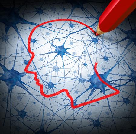 cellule nervose: Neurologia concetto di ricerca esaminando i neuroni di una testa umana per guarire la perdita di memoria o le celle a causa di demenza e altre malattie neurologiche come metafora di salute mentale per la ricerca medica speranza