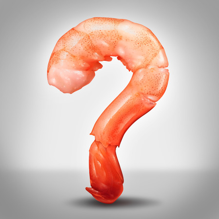 Seafood questions concept as a shrimp in a close up view in the shape of a question mark as a symbol for fresh delicious refrigerated sea food as crustaceans or fish as an icon of allergy information or cooking instructions or recipes
