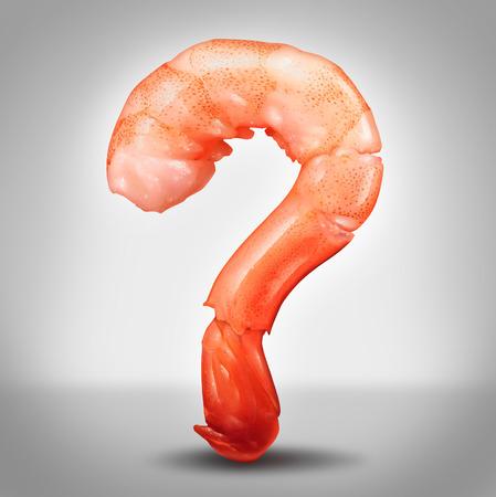 camaron: Preguntas Marisco concepto como un camarón en una vista de primer plano en la forma de un signo de interrogación como un símbolo de la deliciosa comida fresca de mar refrigerada, como crustáceos o peces como un icono de información alergia o cocinar instrucciones o recetas
