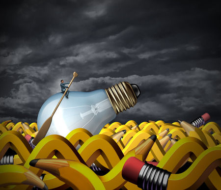 persistence: Creative problem solving and business management concept as a businessman sitting on a lightbulb with a boat paddle navigating on an ocean made of pencils shaped as waves as a symbol of goal strategy and vision persistence