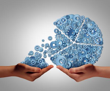 인간의 손주는 또는 어려움을 겪고 회사 또는 사람을 돕기 위해 지원 또는 자선 단체에 기부를 투자하는 재정 지원의 상징으로 기계적 기어와 톱니 바