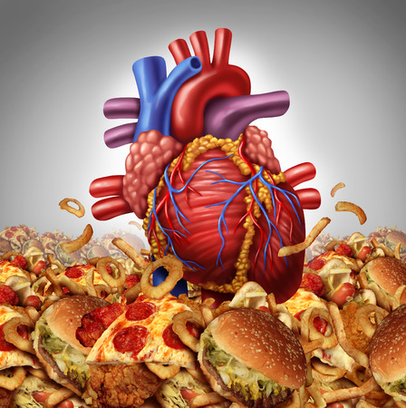 unhealthy: Heart disease risk  symbol and health care and nutrition concept as a human cardiovascular organ drowning in an ocean of greasy high salt unhealthy fast food as a symbol dangerouse  artery clogging cholesterol crisis  Stock Photo
