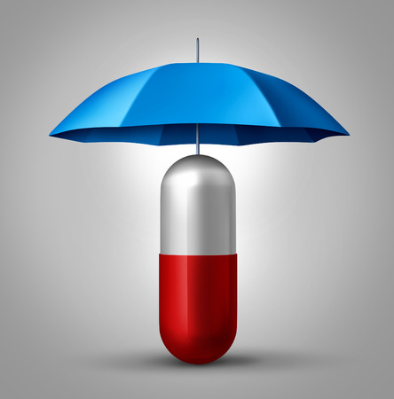 Medicine protection and drug safety concept as a health care symbol with a capsule pill with an umbrella protecting the pharmaceutical icon