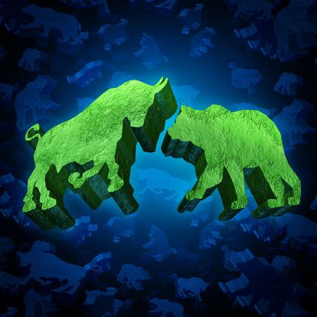 bullish: Toro e orso mercato azionario investendo simbolo come un gruppo di tre icone tridimensionali di negoziazione come un concetto di attivit� economica e di incertezza finanziaria globale Archivio Fotografico