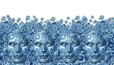 concept de travail d'équipe comme un groupe d'affaires travaillant de têtes humaines en forme avec des engrenages de la machine et des roues dentées reliées entre elles comme un symbole de la technologie pour l'avenir de la collaboration de l'informatique par le biais des médias sociaux sur un fond blanc