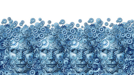 Teamwork concept as a working business group of human heads shaped with machine gears and cog wheels connected together as a technology symbol for future computing collaboration through social media on a white background  photo