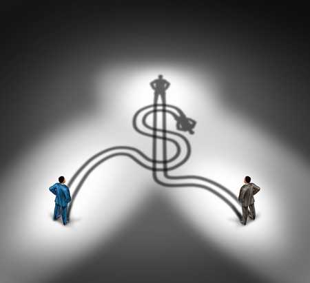 teaming up: Business people agreement and money teamwork  Stock Photo