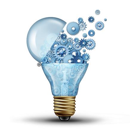 Kreativ teknik och kommunikationskoncept som en öppen dörr glödlampa tranfering kugghjul och kuggar som ett företag metafor för nedladdning eller uppladdning innovationslösningar Stockfoto