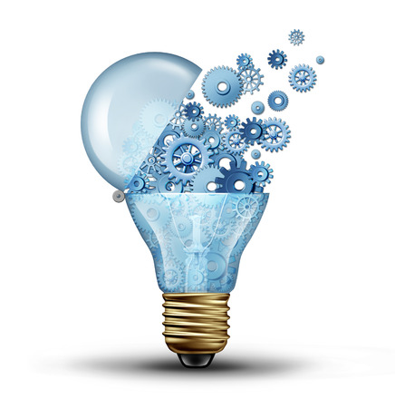 Creative technology and communication concept as an open door light bulb tranfering gears and cogs as a  business metaphor for downloading or uploading innovation solutions