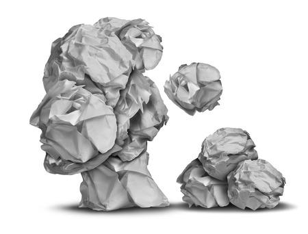 Dementie verlies en werkstress-concept als een groep van verfrommeld kantoorpapier naar beneden vallen in de vorm van een menselijk hoofd als een symbool voor de hersenen probleem medische en gezondheidszorg intelligentie icoon