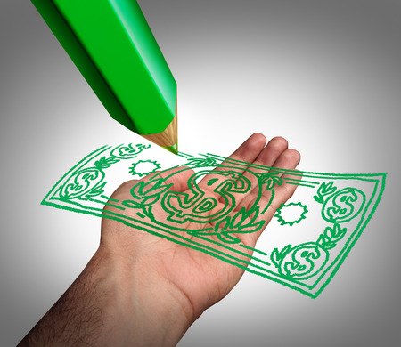 Making money business concept as a green pencil drawing a dollar currency on an open hand as a symbol of creating wealth or government subsidies for lobby groups or payment of a refund  photo