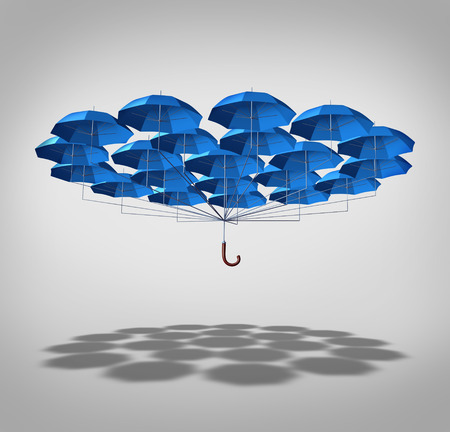 Extra security concept as a wide group of blue umbrellas connected together as one umbrella as a symbol of supplemental full protection  Stock Photo