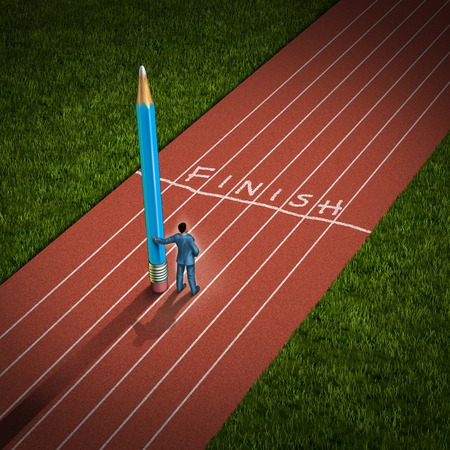 Winning strategy and creative thinking business concept as a successful  businessman holding a giant pencil who has drawn a finish line on a running track as a symbol of innovation and being an outside the box thinker to achieve victory