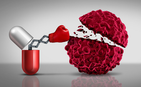 Cancer drugs fighting a cancerouse cell as a health care medical concept for a pharmaceutical cure to fight the dangerouse disease with life saving medication