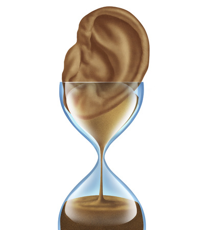 auditory: Hearing aging loss as a medical degenerative disease as an hourglass with sands of time falling shaped as an ear as a symbol of losing auditory function due to older age