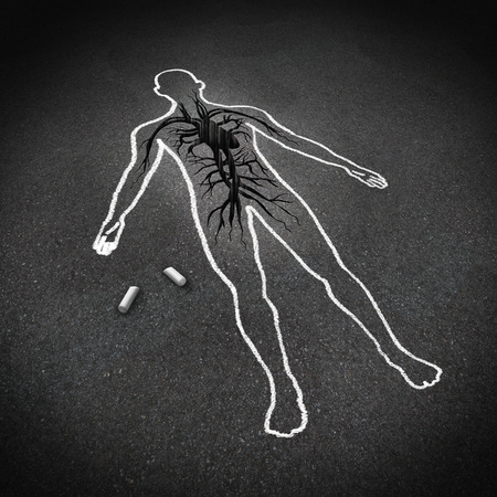 healthy arteries: Heart attack medical concept as a chalk drawing of a human on a pavement floor with a cracked hole in the asphalt shaped as a cardiovascular system heart organ as a cardiology symbol of the dangers of bad diet and living a stress filled unhealthy lifestyl