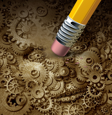 Losing function concept as a frontal head made of machine gears and cogs on a grunge background being erased by a pencil as a symbol for losing thinking ability or changing business skills to better compete  photo