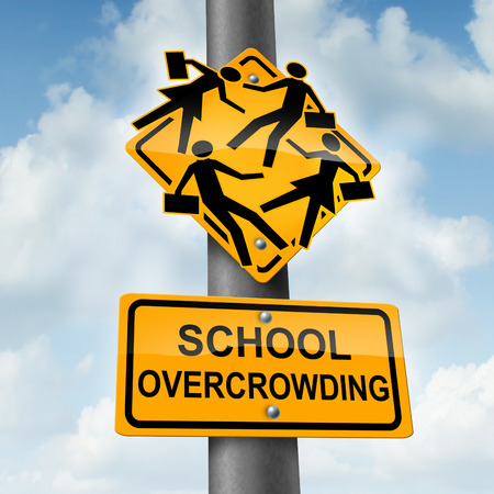 School overcrowding and classroom overcrowding concept as a  crossing traffic sign with overcrowded students bursting out of the seams as a symbol of the problems of public education financing and lack of teachers