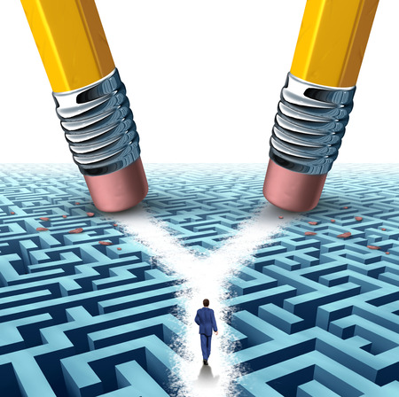 Solution crossroad business concept as a three dimensional maze or labyrinth being erased by two pencils clearing a cross road path for a confused businessman as a symbol for choosing the pathway to success