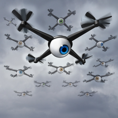 Drone privacy concerns social issues concept as a group of spy drones with human eye balls collecting private information in a reconnaissance and surveilliance mission.