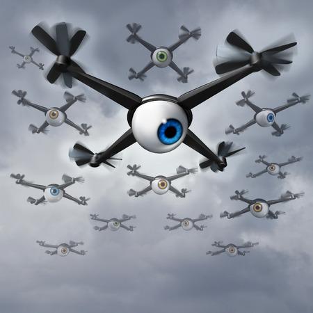 drones: Privacy Drone riguarda questioni sociali concetto come un gruppo di droni spia con le palle degli occhi umani che raccolgono informazioni private in una missione di ricognizione e Surveilliance.
