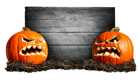 Halloween sign with two scary pumpkins in front of an old blank weathred wood banner as a concept for a creepy advertisement and marketing announcement for a harvest time party. photo