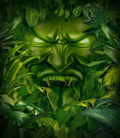 loup garou: Jungle notion peur de cauchemar comme une tête de monstre effrayant, émergeant d'une forêt tropicale sombre comme un symbole de risque et d'exploration danger. Banque d'images