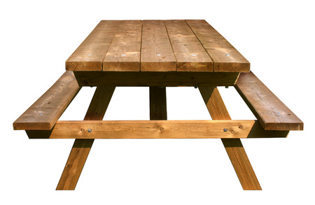Picnic Table front view made of weathered wood on an isolated