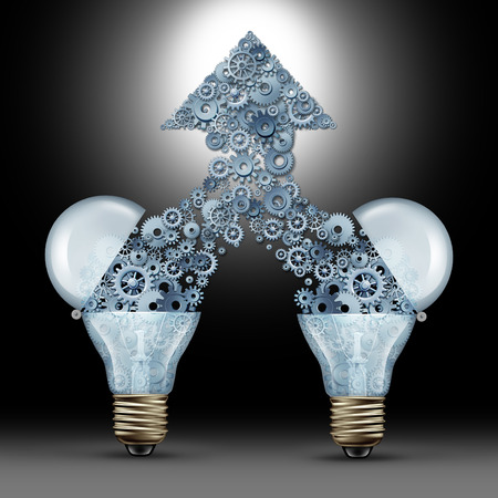 Creative innovation success as two open glass light bulbs releasing gears and cogs coming together in the shape