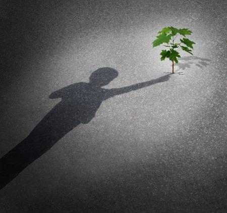 아이의 그림자가 미래 환경 보호의 상징과 다음 세대의 지원으로 도시의 포장을 통해 성장하는 나무의 묘목을 만지고 개념을 성장