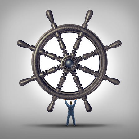 financial advisors: Navigation concept as a businessman holding a marine steering wheel.