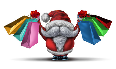 joyous: Christmas shopping spree  as a fun Santa clause with a white beard and a red snow costume holding retail gift bags for holiday buying fun and joyous winter sale holiday celebration on a white background