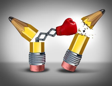 pensamiento estrategico: Concepto de negocio La planificaci�n estrat�gica como un l�piz abierto con un guante de boxeo romper la destrucci�n de la competencia como una met�fora de una guerra despiadada de las ideas y el pensamiento innovador inteligente sin piedad por el enemigo Foto de archivo