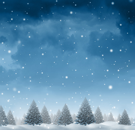 Winter snow background concept with a cold blue forest of pine trees on a snowing holiday night sky as a design element with copy space for the Christmas season and festive celebration of for the time of giving