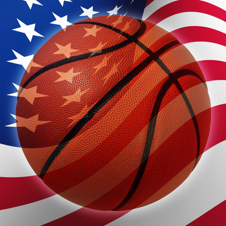international basketball: American basketball symbol  with a United States flag in the background as a sports icon and fitness symbol of team pride.
