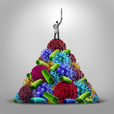 human immune system: Medical hero health care concept as a doctor standing on a mountain of disease icons as virus bacteria and cancer cells holding up a sword in victory as a symbol for research in medicine and the real heros in the battle against illness.