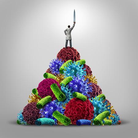 Medizinische Held Gesundheitskonzept als Arzt stand auf einem Berg von Krankheit als Symbole Viren, Bakterien und Krebszellen hält ein Schwert in der Sieg als Symbol für die Forschung in der Medizin und den realen Helden im Kampf gegen die Krankheit.